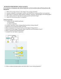 Ap Biology Exam Review Cellular Energetics An Introduction