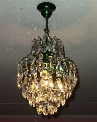 ceiling light brass french antique vintage green waterfall crystal chandelier photo