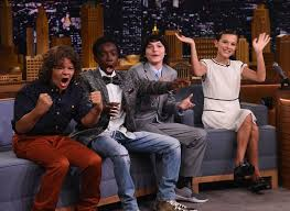 millie bobby brown and gaten matarazzo. finn wolfhard, millie bobby brown, gaten matarazzo and caleb mclaughlin visit \u0027the tonight brown s