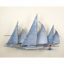 >fleet of sailing ships nautical metal wall art
