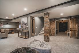 Harlan Court Finished Lower Level Rustic Basement Columbus