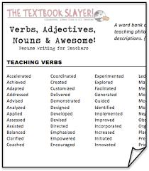 Teacher Resume Verbs Professional Resume Templates