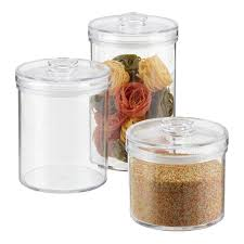 Set of Clear Round Acrylic Canisters ...