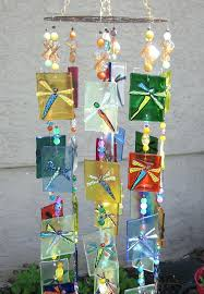 fused stained glass wind chimes dragonfly owl handmade multi uk metal wind chimes glass