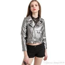 women silver faux leather short jacket 2018 fashion woman zipper belt pu leather coat female long sleeve streetwear cool jackets leather jackets from
