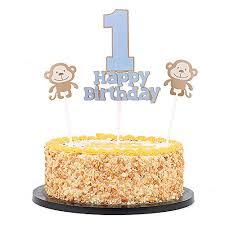 Qiynao Monkey Happy Birthday And 1 Cake Topper 1st Birthday Cake