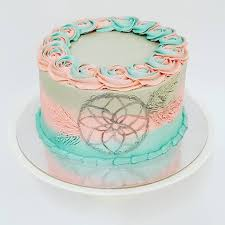 Dream Catcher Baby Shower Cake Smooth Three Colour With Dream Catcher and Rose Boarder cool 20