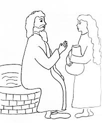 Small Picture Bible Story Coloring Page for Jesus and the Woman at the Well