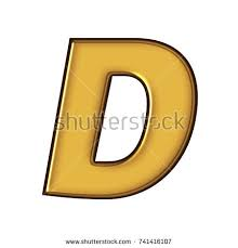 stock photo rich golden color metal block style uppercase or capital letter d in a d illustration with a