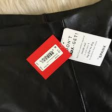 spanx faux leather skater flouncy skirt size large very black for