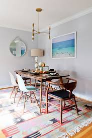 blue and gray and pink dining room