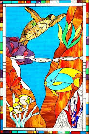 nautical stained glass fantasy reef nautical stained glass window cling