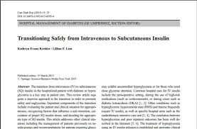 Transitioning Safely From Intravenous To Subcutaneous Insulin
