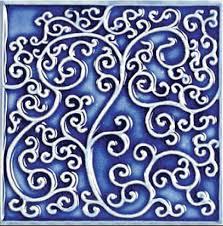 6X6 Decorative Ceramic Tile Bristol Studios Nouveau G100 Nantes Blue Relief Deco 100X100 13