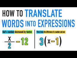 translate words into math worksheet