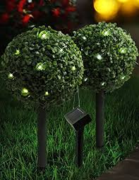Set Of 2 Artificial Topiary Trees With Solar Powered LED Lights Artificial Topiary Trees With Solar Lights