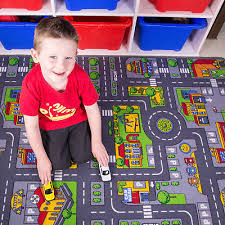 children s kids rugs town road map city cars toy rug play village mat 80 x 120cm