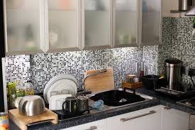 Kitchen Tiled Splashback Free Image Of Modern Kitchen With Mosaic Splashback