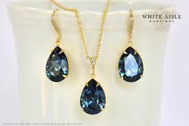peacock blue bridal jewelry set custom swarovski crystal bridesmaids jewelry set tear drop necklace pendant earrings bracelet
