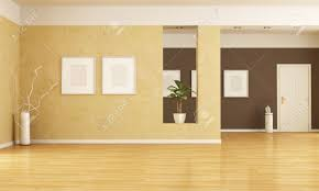 Living Room Entrance Designs Empty Home Entrance And Living Room Rendering Stock Photo