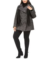Plus Size Double Breasted Peacoat Scarf