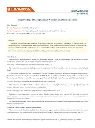(PDF) Negative Ions (Anion) <b>Sanitary Napkins</b> and <b>Women</b> Health