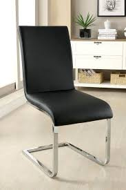 furniture of america idf 8331sc black leatherette chair with chrome legs set of 2