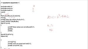Quadratic Equation C Program Vtu First Year C Programs