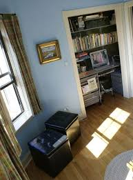 office desk in living room. A Storage Closet, Linen Closet Or Even Small Coat Can Be Turned Into Workroom By Finding Desk And Shelves That Fit The Space. Office In Living Room I