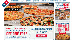 dominos one pizza get one free