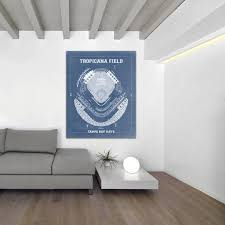 Tampa Bay Rays Tropicana Field Stadium Baseball Blueprint Photo Paper Matte Paper Or Canvas Dad Gift Wall Art Home Decor