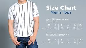 Online Shirt Size Chart Size Guide Bench Online Store
