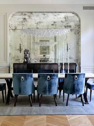 grandiose blue velvet scoop dining chairs set also crystal gl chandelier feat neutral wall painted as inspiring blue dining room furniture decors