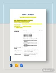 23 Audit Checklist Templates Free Pdf Word Format