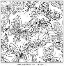 Small Picture Pattern with Butterflies Coloring book for adult and older