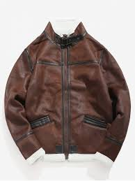 unique fluffy lined faux leather jacket red dirt m
