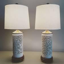 1950s blanc de chine lamps pair