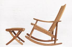 woven rope mid century modern rocking chair and ottoman in the style of hans wegner