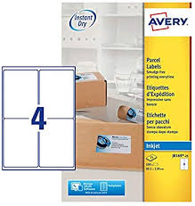 avery sheet labels avery self adhesive parcel shipping labels inkjet printers 4 labels per a4 sheet 100 labels quickdry j8169