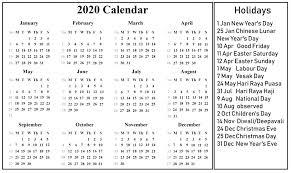 Free Blank Singapore Calendar 2020 Pdf Excel Word