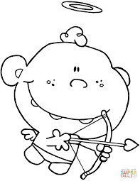Small Picture Cartoon Cupid with Bow and Arrow coloring page Free Printable
