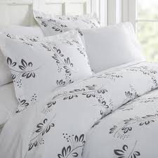 becky cameron simple vine patterned performance gray queen 3 piece duvet cover set
