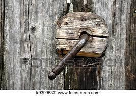 a very old door handle on a wooden door