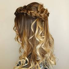 a half up half down crown braid for prom