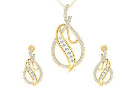 eliza diamond pendant earrings set