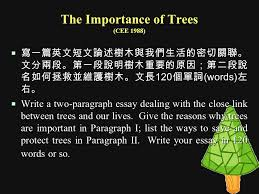 writing a two paragraph essay yun hsiang liu m s ed hsnu  the importance of trees cee 1988  寫一篇英文短文論述樹木