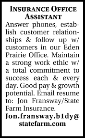 Alternatively you can use the edeninsurance.org web address. Insurance Office Assistant Jon Fransway B1dy Statefarm Com Eden Prairie Mn