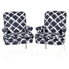 cool navy blue and white accent chair with high back and arms gorgeous blue and
