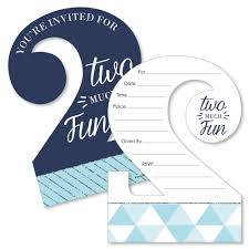 Birthday Invitations Boy 2nd Birthday Boy Too Much Fun Shaped Fill In Invitations Second Birthday Party Invitation Cards With Envelopes Set Of 12