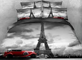 jf 106 magnificent view 3d grey eiffel tower red car duvet cover set super king size bed linen twin full bedding sets duvet covers on designer bedding